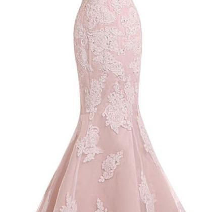 Sexy Evening Gowns Mermaid Pink Pro..
