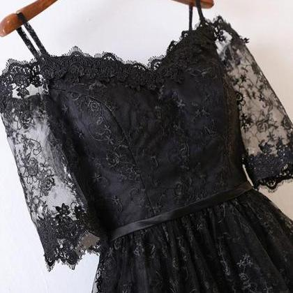 BLACK LACE HIGH LOW PROM DRESS BLAC..