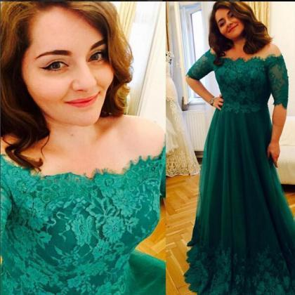 Princess Green Lace Prom Dresses, S..