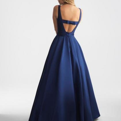 Elegant Navy Blue Long Prom Dress E..