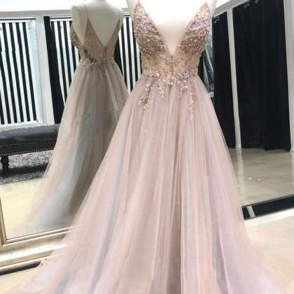 Pink ball gowns v neck evening dres..