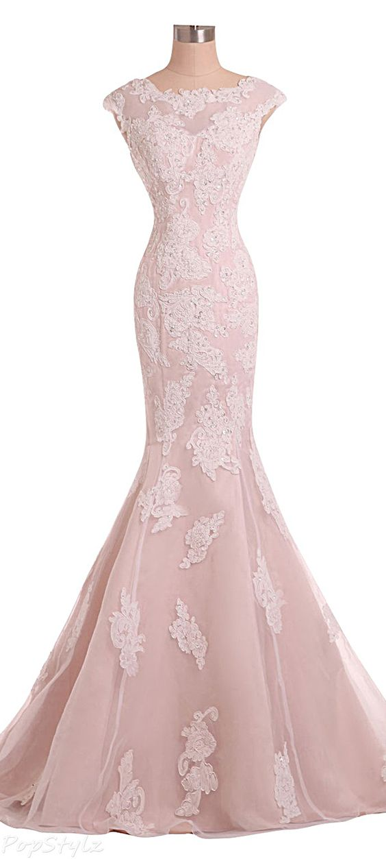 Sexy Evening Gowns Mermaid Pink Prom Dress, Pageant Prom Gown, Evening Gowns