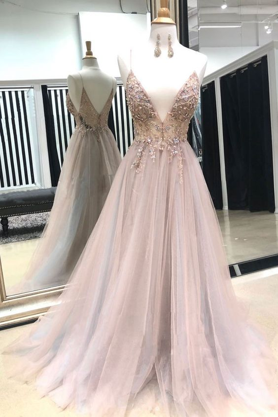 Pink ball gowns v neck evening dress, tulle lace beads long prom dress, pink evening dress appliques formal dress