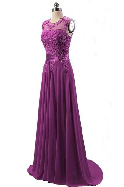 Long Prom Dress,Prom Dresses,Backless Prom Party Dress, Evening Dress, Appliques Evening Dress, Chiffon Formal Evening Dresses