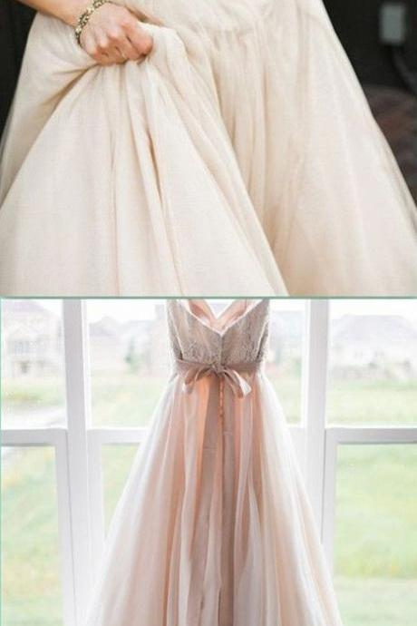 Blush Pink Wedding Gown,Princess Wedding Dresses Wedding Dress with Lace brides dress