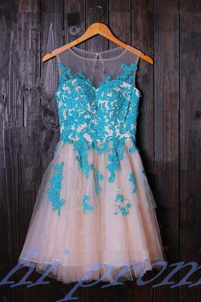 Turquoise Homecoming Dress,Tulle Homecoming Dress,Cute Homecoming Dress,Lace Homecoming Dress,Short Prom Dress,Blush Pink Homecoming Gowns