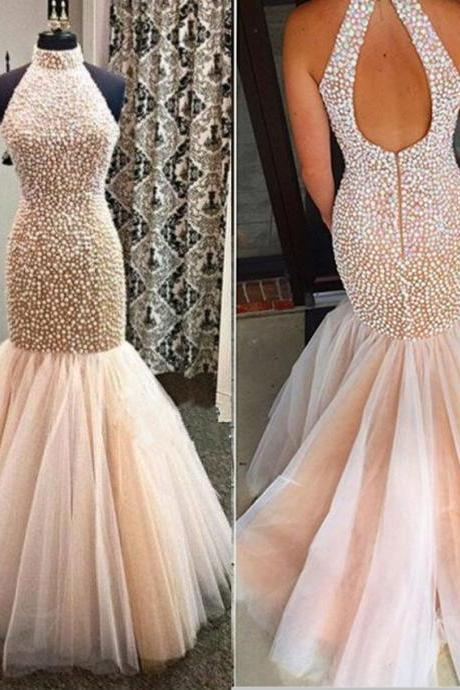 Champagne Prom Dresses,Mermaid Prom Gowns,Tulle Prom Dresses,Beading Prom Dresses,Mermaid Prom Gown,Prom Dress,Backless Evening Gonw With Beading For Teens