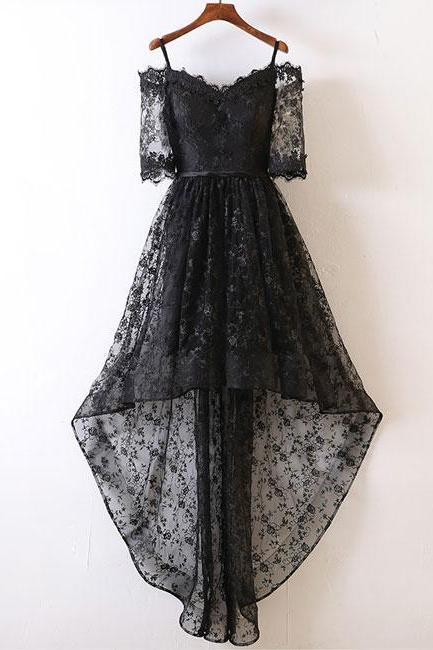 BLACK LACE HIGH LOW PROM DRESS BLACK LACE EVENING DRESS