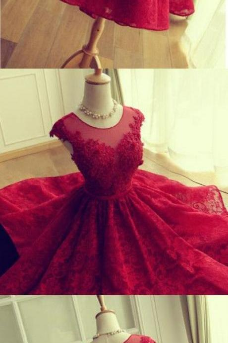 New Style Lace Homecoming Dress, Open Back Applique Homecoming Dress, Red Prom Dress