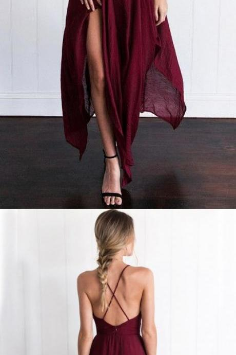 Custom Made Charming Burgundy Prom Dress,Spaghetti Straps Evening Dress,Side Slit Party Dress