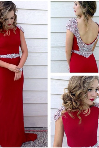 Long Prom Dress, Red Prom Dress, Party Prom Dress, Chiffon Prom Dress, Cheap Prom Dress, Sheath Prom Dress, Evening Dress Gown