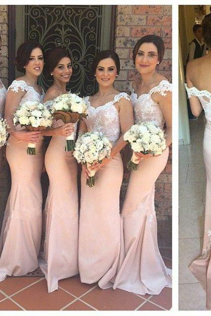 Long Bridesmaid Dress, Blush Pink Bridesmaid Dress, Cheap Bridesmaid Dress, Lace Bridesmaid Dress, Sheath Bridesmaid Dress, Elegant Bridesmaid Dresses