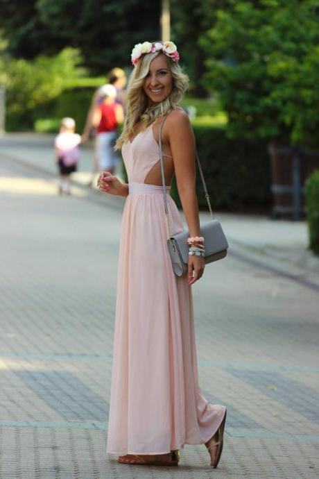 Backless Evening Gowns,Sexy Formal Dresses,Open Back Prom Dresses,Fashion Evening Gown,Open Backs Evening Dress,Blush Pink Party Dress,Simple Prom Gowns