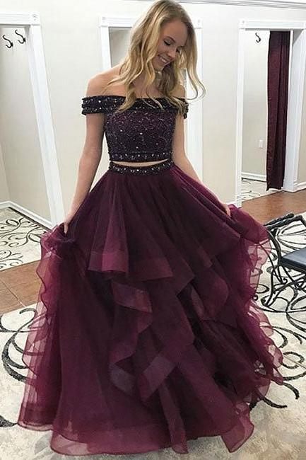 tulle long prom dress, two pieces evening dress