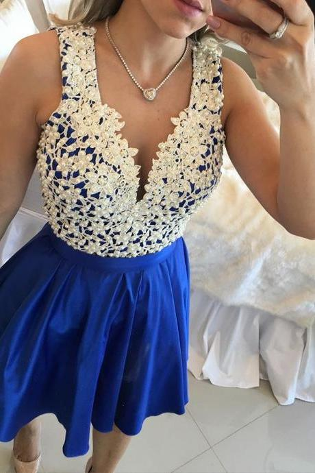 Royal Blue V Neck Sheer Back Homecoming Dress,Beautiful Prom Gown,Cocktail Dress,Homecoming Dress,Short Homecoming Dresses,