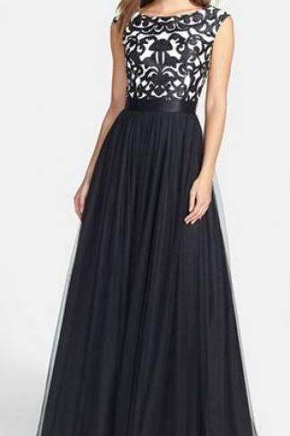 Black Prom Dresses,A Line Prom Dress,Tulle Prom Dress,Lace Prom Dresses,Formal Gown,Cap Sleeves Evening Gowns,Lace Party Dress,Vintage Prom Gown For Teens