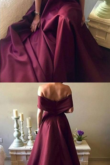 Dark Red Satin Long A-line Off Shoulder Evening Gowns ,Sexy Prom Dress