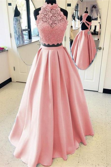 Elegant A-line High Neck Open Back Satin Prom Dresses, Two Piece Evening Gowns