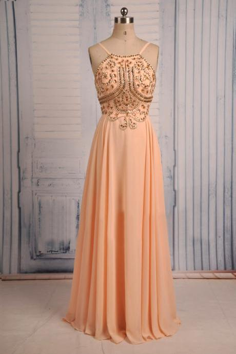 Sexy Prom Dresses,Spaghetti Straps Evening Dresses,New Fashion Prom Gowns,Elegant Prom Dress,Princess Prom Dresses,Chiffon Evening Gowns,Peach Formal Dress,Peach Evening Gown