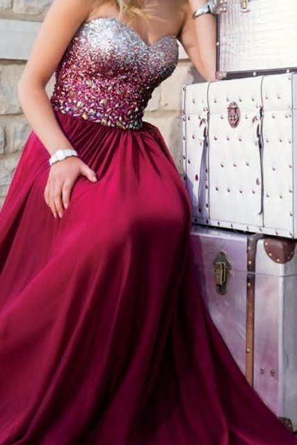 Wine Red Prom Dresses,Burgundy Prom Dress,Sexy Prom Dress,Sequined Prom Dresses,Formal Gown,Chiffon Evening Gowns,A Line Party Dress,Sequin Prom Gown For Teens