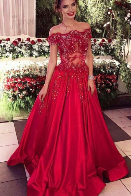 Prom Dresses,A-line Prom Dresses,Long Red Prom Dresses,Beaded Prom Dresses,Off Shoulder Prom Dresses,Evening Dresses,Party Dresses