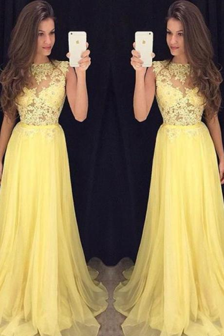 Yellow Prom Dresses, Long Yellow Prom Dress, Yellow Chiffon Long Prom Dress, Yellow Evening Dress