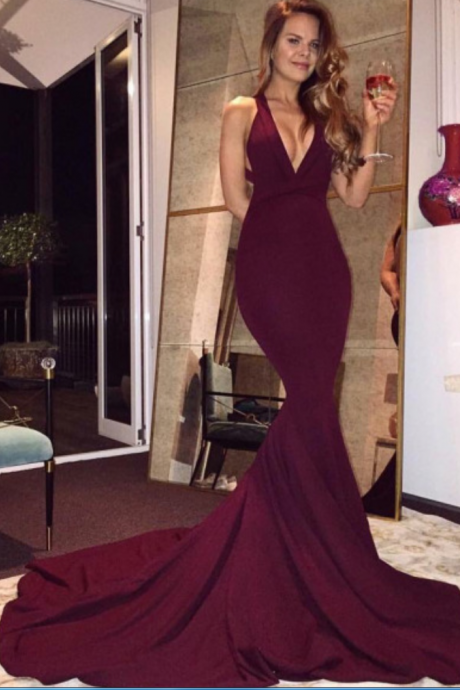 Sexy Burgundy Mermaid Long Prom Dresses ,Sexy Maroon Prom Gowns,Sexy Burgundy Prom Women Dress,Evening Dress,Backless Prom Party Dress