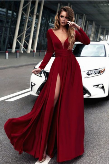 Gorgeous Burgundy Long Prom Dresses, Long Sleeves Prom Dress