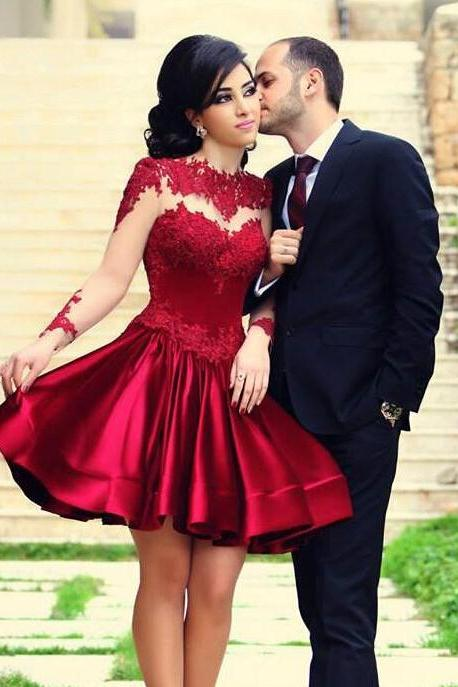 Red Lace Prom Dress Long Sleeve Prom Dress Short Prom Dress Prom Dress Handmade Dress Beautiful Prom Dress