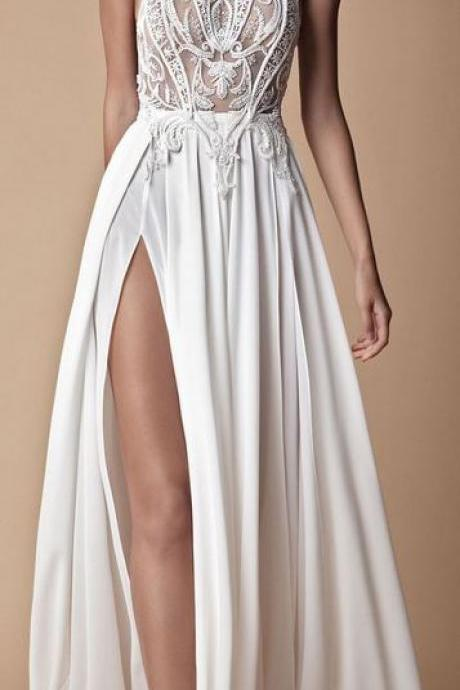 Stunning prom gowns, sexy long evening dresses ,modest white slit prom dress , Floor-length Evening Dresses,Side Slit Prom Dresses