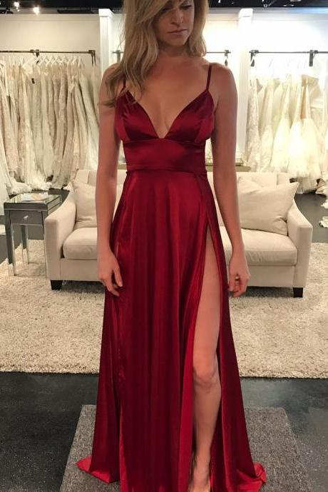 Red Prom Dress,A-Line Spaghetti Straps Prom Dresses, Red Tulle Long Prom Dress with Beading Prom Dresses