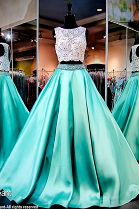 Mint Green Prom Dress, 2 Piece Prom Gowns,2 piece Prom Dresses,Lace Prom Dresses,Mermaid Prom Gown,Prom Dress With Lace For Teens