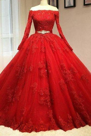 Red Lace Wedding Dress,Wedding Dresses,Tulle Bridal Dresses