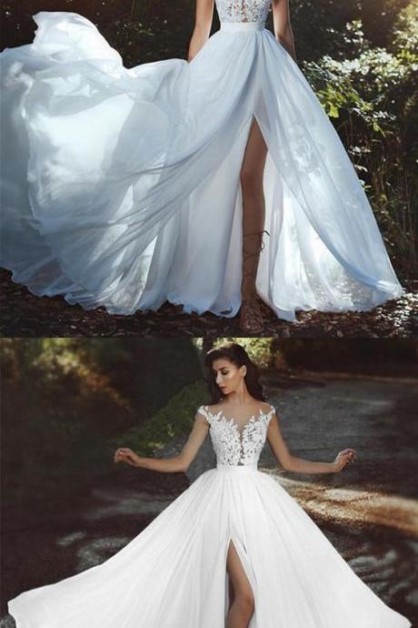 Elegant chiffon beach wedding dresses, boho chic bride dress lace appliques wedding dress