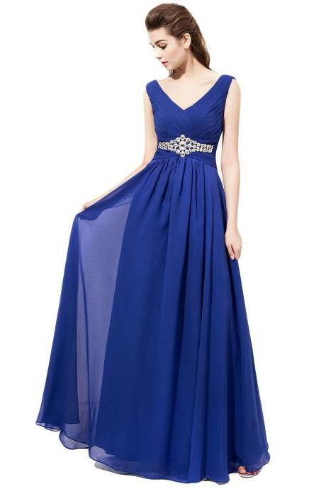 Brilliant Plunge V Royal Blue Chiffon Bridesmaid Dresses,Custom bridesmaid dress