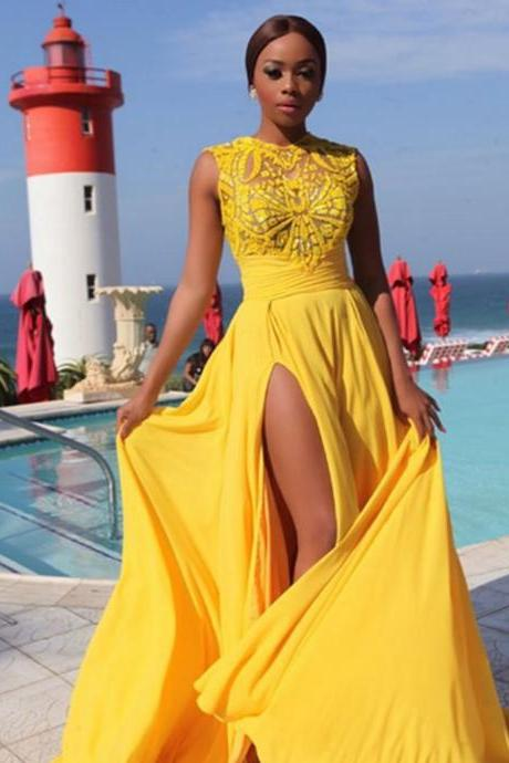 Yellow Prom Dresses,Charming Evening Dress,Yellow Prom Gowns,Lace Prom Dresses,New Prom Gowns,Yellow Evening Gown,Party Dresses