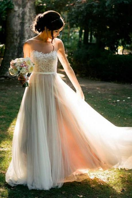 Sleeveless Illusion Lace A-line Wedding Dress, Beach Wedding Dresses, Country Wedding Dress