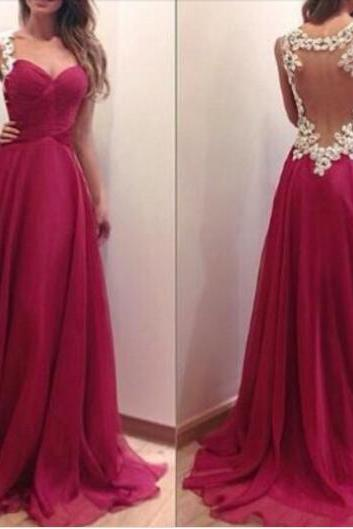 Charming Burgundy Sweetheart Floor Length Prom Dress With Applique Blackless Detalis, Handmade Prom Dresses , Prom Dresses, Evening Dresses