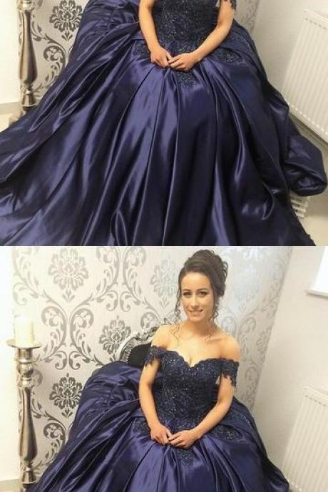 Lace Appliques Beaded Off The Shoulder Satin Prom Dress,Ball Gown Dresses,Prom Dress