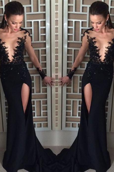 Black Chiffon Prom Dress ,Sexy See Through Slit Long Prom Dresses ,Elegant Full Sleeve Scoop Mermaid Prom Dress, Sexy Black Slit Evening Formal Gowns, Long Sleeves Party Dress