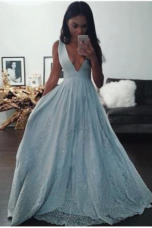 Sexy V-Neck Baby Blue Evening Dress ,Sequins Lace New arrival formal prom dress