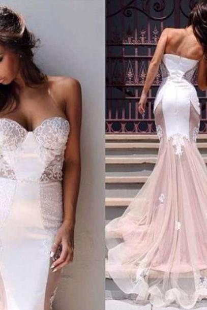 Pretty prom dress, sweet heart prom dress, bridal dress, long prom dress, wedding dress, lace prom dress, evening dress