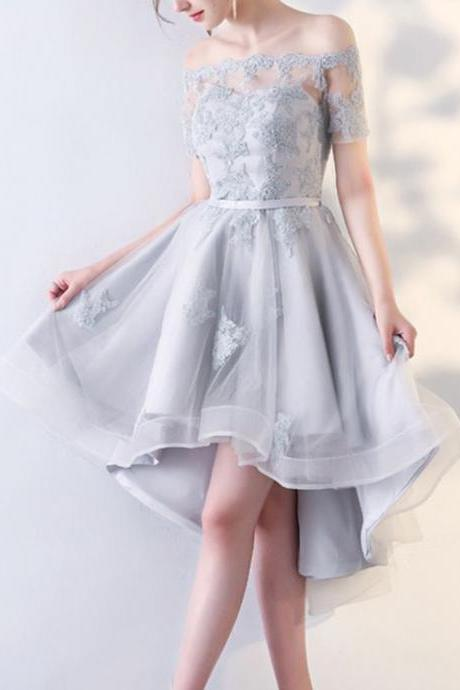 Silver Grey Off The Shoulder Binding Mini Dress,High Low Evening Dress,Sexy Short Sleeves Dress