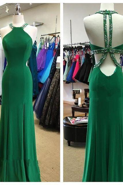 Halter Prom Dress,Backless Prom Dress,Beaded Prom Dress,Fashion Prom Dress,Sexy Party Dress, New Style Evening Dress
