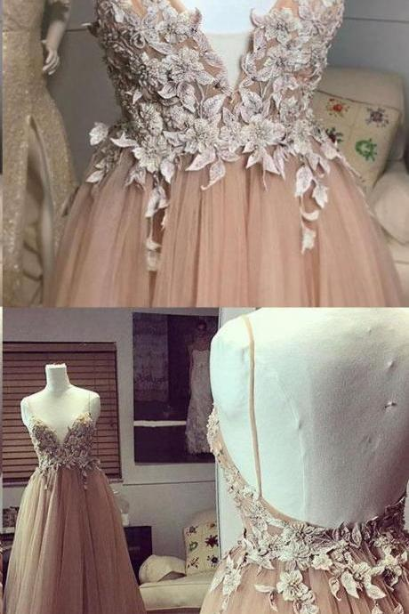 Long Prom Dress,Long gown, floral gown, strapless gown, v-neck gown, backless gown, elegant gown.Slim waist dress, party dress, Evening Dress