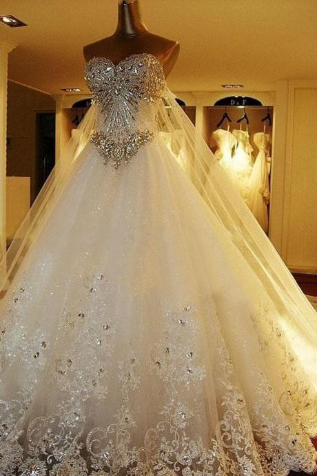 Amazing Luxury Wedding Gowns, Bride Dresses, Crystals Cathedral Wedding Dresses ,Free Veil Dresses for Wedding , Wedding Dress