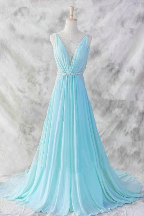 Pretty Baby Blue Chiffon Prom Dress,Floor Length V-neckline Prom Gown , Baby Blue Evening Dresses , Blue Formal Dresses, Formal Dresses