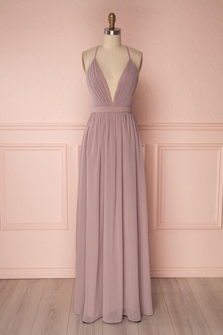 Flowing Lalic Chiffon Pleats Open Back Plunging Neckline Prom Dress Robe de Soiree,evening dress
