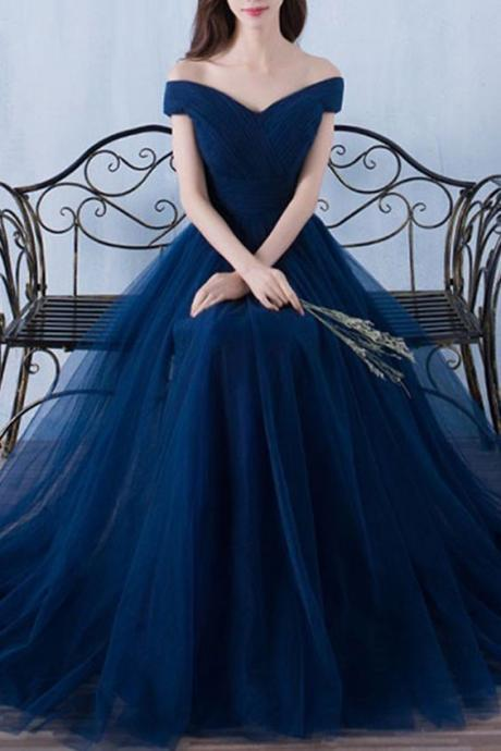 Dark Blue Tulle Organza Prom Dress,off-shoulder A-line Long Prom Dresses, Tulle Prom Dress, Long Prom Dress, Evening Dress for Graduation