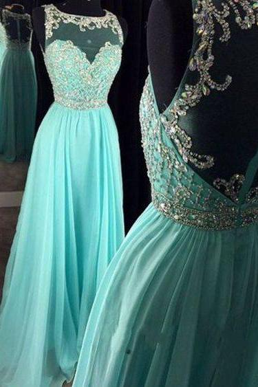 Beautiful Round Neck See-through Back Mint Prom Dress,Chiffon Sequins Prom Dress, Homecoming Dress, Prom Dresses, Graduation Dress,Sexy Formal Evening Dress